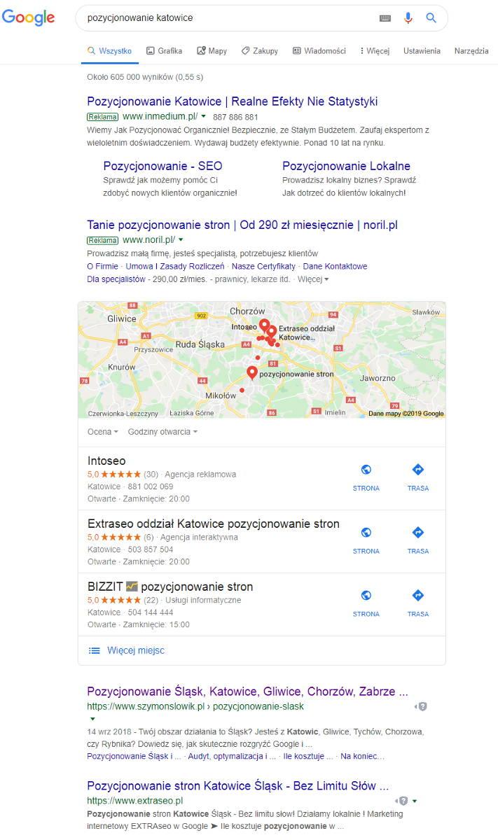 katowice google pozycjonowanie